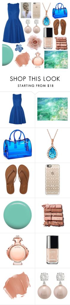 """Beach Babe"" by dreamingdaisy ❤ liked on Polyvore featuring moda, Badgley Mischka, Furla, LE VIAN, Aéropostale, Casetify, Jin Soon, Bobbi Brown Cosmetics, Paco Rabanne e Chanel"