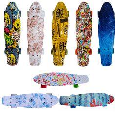 22 인치 네 바퀴 페니 스타일의 복고풍 스케이트 보드 미니 크루저 스케이트 보드 전체 8 색 성인 어린이