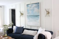 Fireplace Makeover, Start To Finish - Shine Your Light Coastal Living Rooms, Fireplace Remodel, Built In Bookcase, Exposed Wood, Beautiful Living Rooms, Cottage Design, White Rooms, Family Room, Furniture