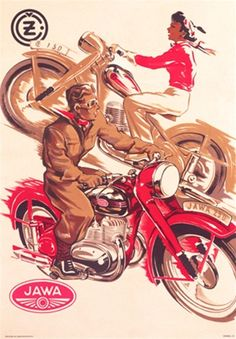 JAWA 150 Jawa 250 Czechoslovakian - Vintage Poster Reproductions. This vertical Czech transportation poster features a man riding a red motorcycle and a women riding the opposite direction on a brown bike. Giclee Advertising Print. Classic Posters