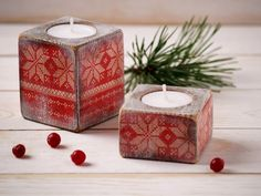 Wood Christmas Candle Holders White and Red  by HandmadeDecoupage, €18.50