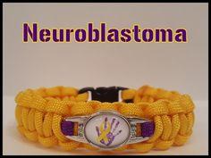 Neuroblastoma Awareness Handprint Ribbon charm. Golden Yellow w/Purple | paracordbydesign - on ArtFire
