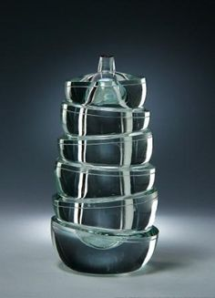 Yoichi Ohira (Japanese, b. 1946), Unique Hand-blown Cut and Polished Crystal Glass Vase.