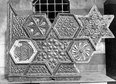 Photo from Hama, Syria (1939). Geometric ceiling panel undergoing restoration in  Bayt As'ad Pasha al-Azm.  Islamic Geometric Design
