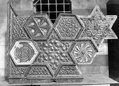 Photo from Hama, Syria (1939). Geometric ceiling panel undergoing restoration in  Bayt As'ad Pasha al-Azm.  Islamic Geometric Design