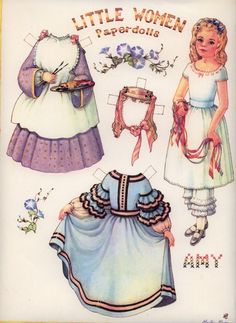 Amy from the beloved novel Little Women depicted in paper doll form. #historical #costume #paper #doll #Little_Women #dress