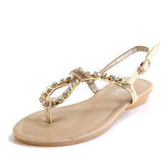 Kvoll Women's Open Toe T-strap Flat PU Sandals with Rhinestones and Buckle,Beige,39