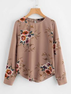 Shop Flower Print Keyhole Back Curved Hem Blouse online. SheIn offers Flower Print Keyhole Back Curved Hem Blouse & more to fit your fashionable needs. Floral Blouse, Floral Tops, Frill Blouse, Collar Blouse, Embroidered Blouse, Spring Shirts, Mode Hijab, Look Cool, Blouse Designs