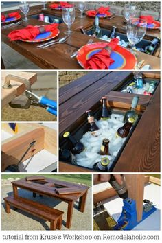 Tutorial for this awesome DIY patio table with drink coolers. Covers for when they're not in use, plus matching benches, too. Perfect for summer entertaining!