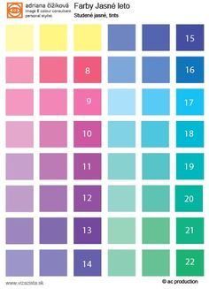 Clear Summer tonal palette. Basic orientation. Cool tints. This color type is former type of my 12 seasonal system since 2003 ( Dark Summer, Soft Summer, Clear Summer). Now is split in two types - Clear Summer with more satureted tints and Light Summer with pale tints to middle saturation.