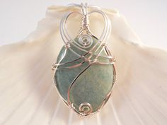 Wire Wrapped Stone Pendant Aventurine Green by elainesgems on Etsy, $25.50