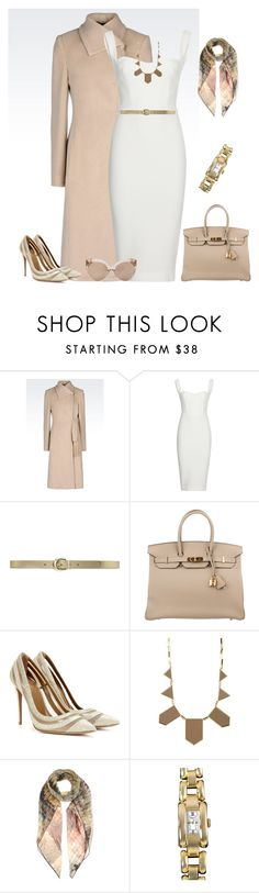 """outfit 3326"" by natalyag ❤ liked on Polyvore featuring Armani Collezioni, Victoria Beckham, Lauren Ralph Lauren, Hermès, Aquazzura, House of Harlow 1960, Valentino, Chopard, Linda Farrow and women's clothing"