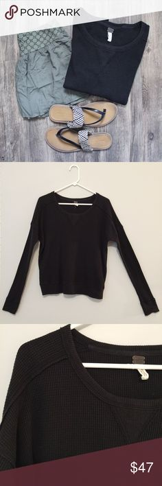 We the Free Charcoal Thermal This cozy long-sleeve tee is perfect for casual wear! Looks great paired with distressed skinny jeans and ankle boots! No holes, stains or imperfections / comes from a smoke free environment 📦Bundles welcome 👌🏻Offers welcome through offer button. ❌NO trades, please. ⚡️Same/Next day shipping Free People Tops