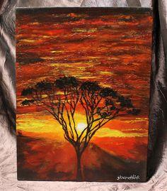 Sunset acacia tree landscape landscape by ThisArtToBeYours on Etsy, $85.00
