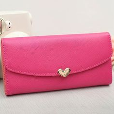 Women Girls Fashion Envelop Love Handbag Multi Holders Simple Purse Wallet