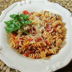 Baked Penne with Italian Sausage Recipe - Allrecipes.com  Works great with rotini too. #Jvillekitchens #AllstarsJville