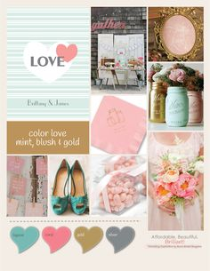 Explore summer wedding color ideas with mint, blush, and gold. Ann's Bridal Bargains provides tips on how to use these colors to create a romantic setting for your wedding. Wedding Reception Timeline, Wedding Reception Decorations, Wedding Ideas, Wedding Gifts For Guests, Wedding Cards, Wedding Stuff, Blush And Gold, Blush Pink, Pink Wedding Shoes