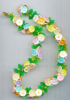 So pretty Vintage celluloid flower necklace signed West by RNEVE