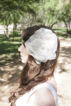 Big bridal hair piece fascinator flower - white organza rose made by hand