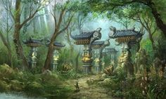 View an image titled 'Forest Path Art' in our Blade & Soul art gallery featuring official character designs, concept art, and promo pictures. Fantasy Art Landscapes, Fantasy Landscape, Environment Concept Art, Environment Design, Fantasy Places, Fantasy World, Blade & Soul, Forest Path, L5r