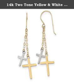 14k Two Tone Yellow & White Gold Chain Dangle Cross Shepard Hook Earrings (2.2IN Long x 0.5IN Wide). Length: 56MM x Width: 12MM / Polished / Shepherd hook / Dangle / Solid 14K Two Tone Gold (not gold plated, not gold filled).