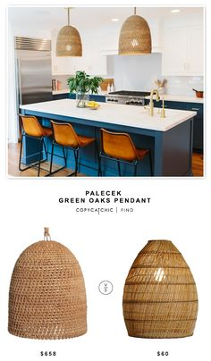 @shopcandelabra Palecek Green Oaks Pendant $658 vs Cost Plus @worldmarket Basket Weave Bamboo Pendant Lamp $60