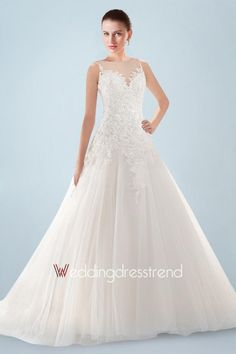 Awesome Appliqued Beaded Sheer Bateau Neckline Wedding Dress