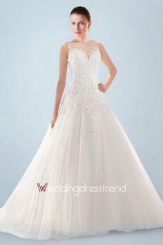Awesome Appliqued Beaded Sheer Bateau Neckline Wedding Dress