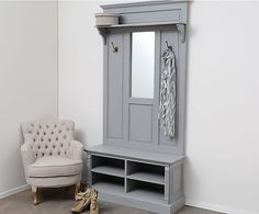 Mueble de entrada de madera DM Arthur - gris. Largo: 100 cm Alto: 200 cm Ancho: 35 cm 1196€