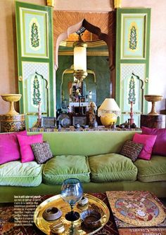 An Indian Summer: Villa Kadiri. Don't you just love the plush velvet sofa, it looks so comfy and with the beautiful bright pink pillows. Ah, stunning. Decor, Interior Design, House Interior, Decor Inspiration, Moroccan Design, Home, Interior, Bohemian Home, Home Decor