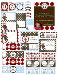Sock Monkey theme Im using for the boys 1st birthday!  She has such cute decorations/ invitations to print!