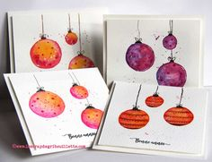 Cartes_Aquarelle et boules de Noël_Watercolor Cards