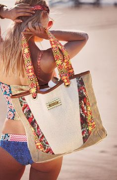 Maaji Beach Bag The Maaji Swimwear beach bag is a great accessory to bring with you on the beach! It's fashionable and functional. It is a canvas beach bag with My Bags, Purses And Bags, Sacs Tote Bags, Boho Bags, Beach Accessories, Fabric Bags, Summer Bags, Summer Wear, Tankini Top
