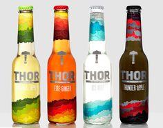 Thor Soft Drinks - Shrink Sleeve Packaging Design by Radim Malinic of Brand Nu Beverage Packaging, Bottle Packaging, Brand Packaging, Sleeve Packaging, Design Packaging, Bottle Labels, Branding, Marketing, Thor