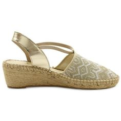 Andr233 Assous Gold Woven Hailey Wedge Sandal - Women's ($93) ❤ liked on Polyvore featuring shoes, sandals, gold woven, woven wedge sandals, espadrille sandals, gold shoes, andre assous espadrilles and woven sandals