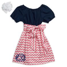 Classic for your cutie!  Lolly Wolly Doodle kids clothing.  Navy Pink Chevron Sash Dress $32.
