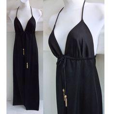 Vintage 70s Disco Black Strappy Halter Maxi Dress