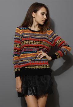 Snowflake Fair Isle Knit Sweater - Sweaters - Tops - Retro, Indie and Unique Fashion
