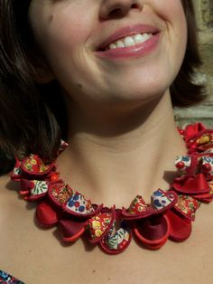 Hand crafted textile necklace in red by HandMadeByJade at folksy.com