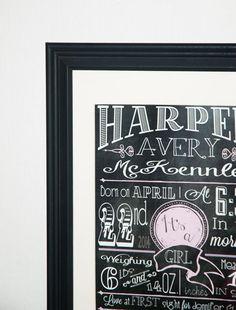 custom chalkboard style birth announcement-Girl