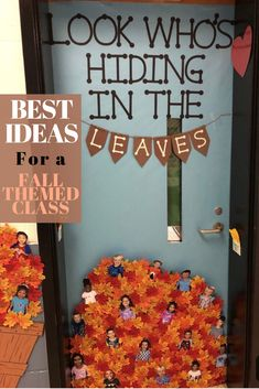 35 Best Classroom Decoration Ideas for Fall - Chaylor & Mads The best fall classroom decorations including the cutest fall bulletin board ideas, door decorations, cute signs and tons of DIY ideas. October Bulletin Boards, Preschool Bulletin Boards, Classroom Board, Classroom Bulletin Boards, Classroom Ideas, Holiday Classrooms, Future Classroom, Kindergarten Classroom Door, Bullentin Boards