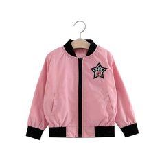 WensLTD Fashion Girls Kids Cute Cardigan Baseball Uniform Outerwear Long Sleeve Jacket (4T, pink). Gender:Girls. Clothing Length:Regular. Pattern Type: Pentagram. Decoration: None. Sleeve Style:Regular.