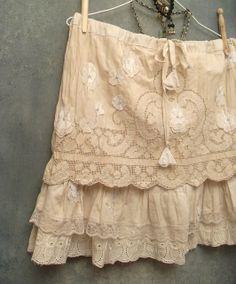 Boho Skirt Cotton Prairie Grunge Ruffled Mini with Floral Appliques by Resurrection Rags, via Flickr