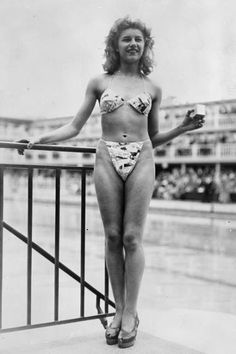 The History of the Bikini  | 1947 Louis Réard, a Parisian engineer, introduces an even smaller suit—made from just 30 inches of fabric—and calls it the bikini after Bikini Atoll, the Pacific Ocean site famous for hosting the first atomic bomb test on July 1 of the previous year.   Read more: The History of the Bikini - Timeline of How the Bikini Changed Through the Years - ELLE  Follow us: @ElleMagazine on Twitter | ellemagazine on Facebook