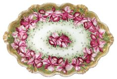 Antique Hand-Painted Orchids Tray