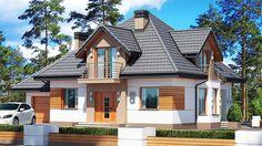 Projekt domu Śnieżka N 129,49 m² - koszt budowy - EXTRADOM Home Building Design, Home Design Plans, Building A House, Modern House Floor Plans, Modern Bungalow House, Dream House Exterior, Exterior House Colors, House Design Pictures, House Outside Design