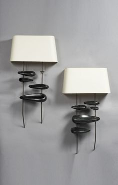 GEORGES JOUVE, Ceramic Wall Lights, France, c.1950s