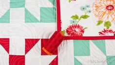 Coral Red Aurifil Thread matches perfectly with red binding