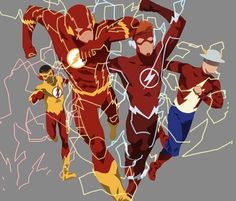 An Homage to Flash Rebirth : DCcomics Jay Garrick Wally West Flash Flash Flash and Kid Flash