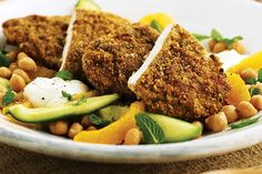 Falafel chicken with chickpea and orange salad